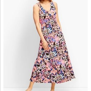 Talbots Abstract Blossoms Casual Jersey Maxi Dress